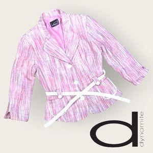 Vintage Dynamite Fitted Tweed Pink Pastel Blazer